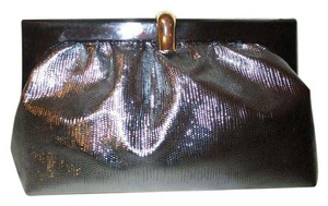 SM Co. Vintage Reptile Faux Leather silver Clutch