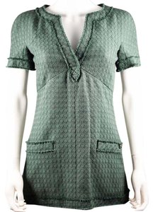 Chanel short dress Green Tunic Textured Short Sleeve Mini Logo on Tradesy