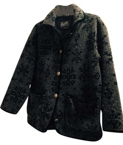 Other Nice Print Pewter Like Buttons Black Piping Pea Coat