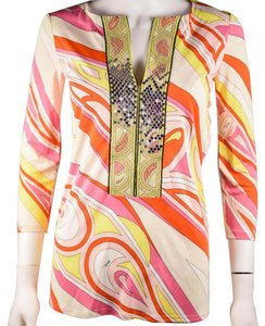 Emilio Pucci Pink Yellow Abstract Top Multi