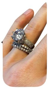 Other Huge CZ Sterling Crown Set Round Engagement Ring Sz 6