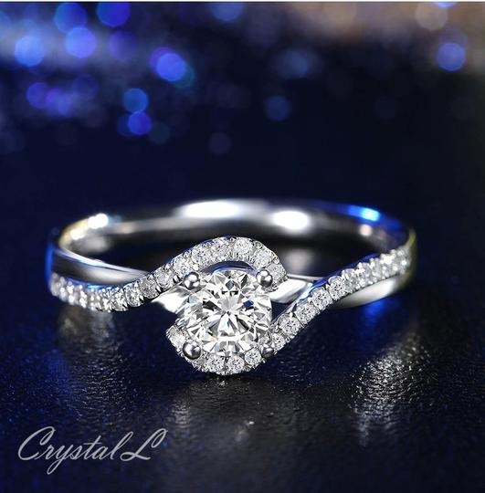 Silver Women Sapphire White Gold Plated Engagement Ring Image 1