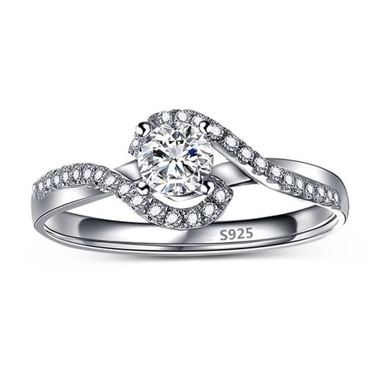 Silver Women Sapphire White Gold Plated Engagement Ring Image 2