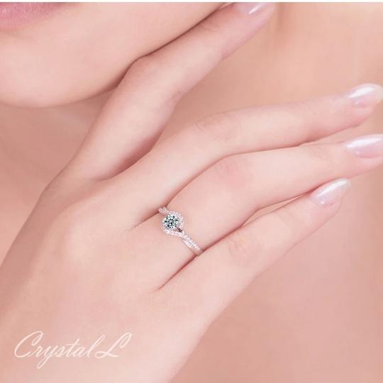 Silver Women Sapphire White Gold Plated Engagement Ring Image 3