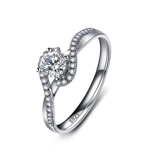Silver Women Sapphire White Gold Plated Engagement Ring Image 4