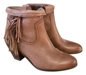 Sam Edelman Fringe Leather Tan Boots