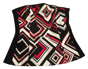 White House | Black Market Print Bustier Whbm Size 4 Top Red, Black, White