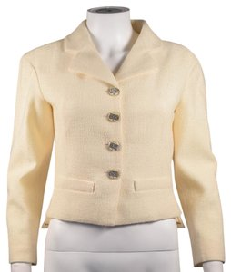Chanel Crystal Jacket Coat Silk Silver Cream Blazer