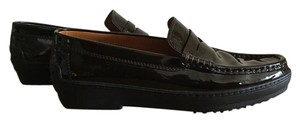 Tod's Loafers Patent Leather Brown Flats