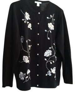 dressbarn Pearls Embellished Embroidered Sequin Cardigan