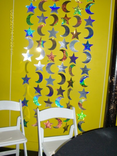 Holographic Silver Stars & Moons Curtains (Set Of 2) Reception Decoration