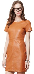 Anthropologie short dress Tan Faux Leather Chic Edgy Sleek Classic on Tradesy