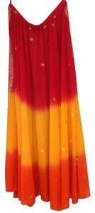 India Arts Soft Pre-shrunken Color-fast Belly Dancing Full Circle Maxi Skirt Fuchsia, orange, yellow, & gold