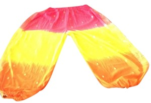 India Arts Soft Comfortable Preshrunk Color Fast Festive Wide Leg Pants Fuchsia, orange, yellow, & gold