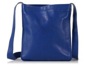 Herms Blue Pouch Hr.k1018.03 Agneau Cross Body Bag
