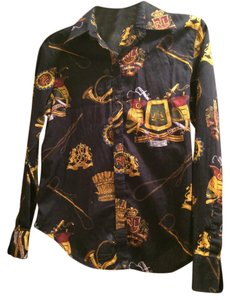 Ralph Lauren Top Black with gold and red pattern