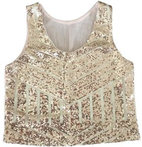 Fantasie Crop Sequins Geometric Mesh Fabric 4-way Stretch Top Gold and beige