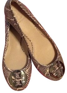 Tory Burch Black cobra print with pewter logo Flats