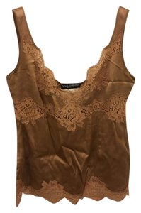 Dolce&Gabbana Silk Lace Saint Laurent Top Nude