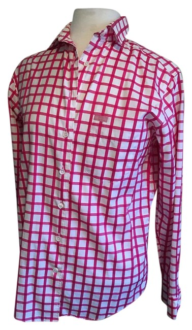Preload https://img-static.tradesy.com/item/20125908/faconnable-fuchsia-and-white-classic-one-chest-pocket-pane-cotton-blouse-size-2-xs-0-1-650-650.jpg