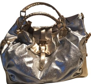 Halston Heritage Metallic Hardware Tote in Silver/gold Metallic