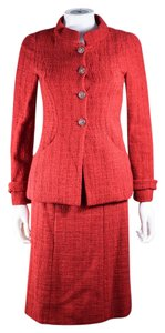 Chanel 2012 SUIT US 2 34 RED JACKET BLAZER SKIRT CC BOMBAY GRIPOIX GLASS 12A
