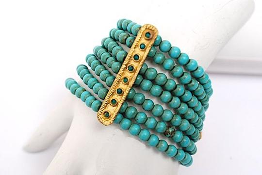 Other UNSIGNED Gold Vermeil/Turquoise Beaded 7-7/8
