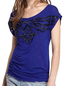 Anthropologie Holiday Top Cobalt Blue