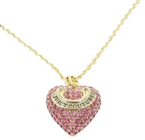 Juicy Couture pink pave heart necklace with box