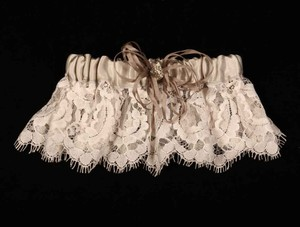 Ossai Light Ivory and Taupe Ss10-gt-04 Wedding Bridal Garter