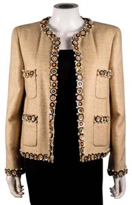 Chanel Pearl Cashmere Sequin Rare Beige Jacket