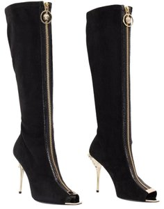 Versace Leather Open Toe Black Boots