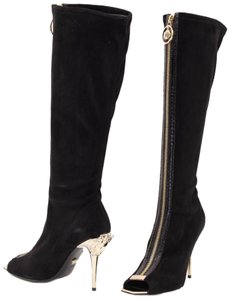 Versace Leather Boot Open Toe Black Boots