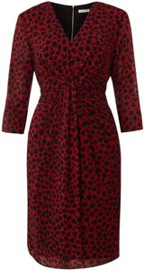 Whistles Cheetah Print Cheetah 3/4 Sleeves Silk Chiffon Dress