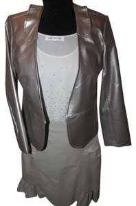 Other 3 piece faux leather jacket beaded top handmade skirt