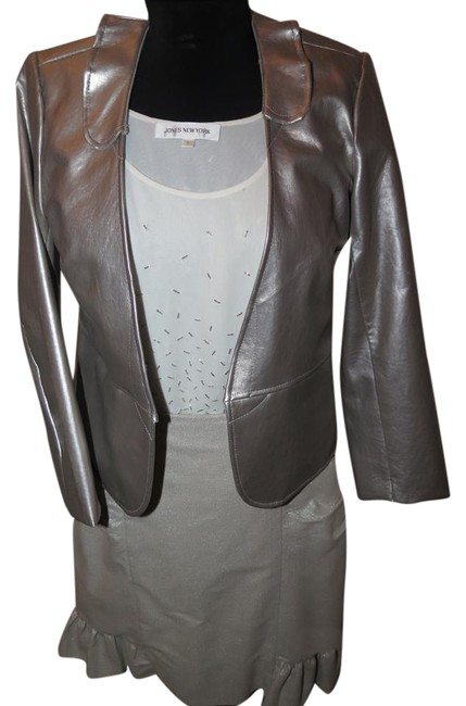 Preload https://img-static.tradesy.com/item/20126195/grey-3-piece-faux-leather-jacket-beaded-top-handmade-skirt-suit-size-4-s-0-1-650-650.jpg
