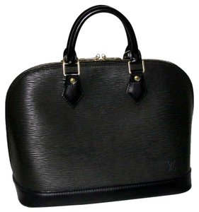 Louis Vuitton Alma Epi Leather Satchel in Black