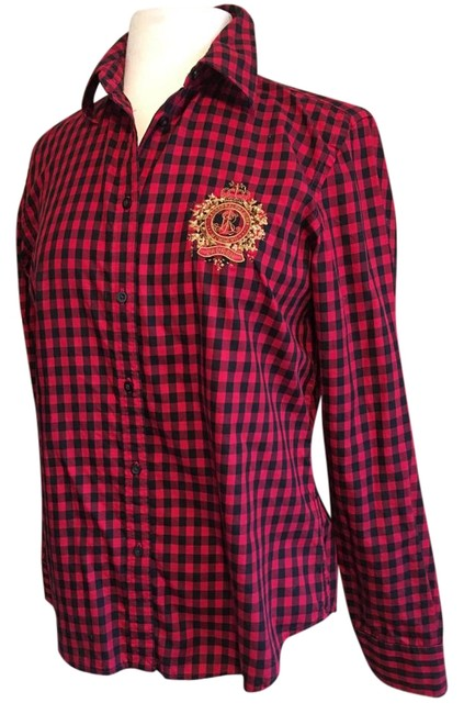 Preload https://img-static.tradesy.com/item/20126261/lauren-ralph-lauren-blk-red-crest-logo-with-tiny-sequinbead-long-sleeves-gingam-blouse-size-8-m-0-1-650-650.jpg