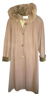 Charles Klein Rabbit Long High Quality Wool Trench Coat