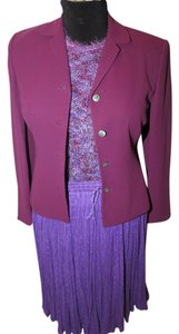 Casual Corner 6 piece Casual Corner Couture Purple Raspberry Red knit top earrings