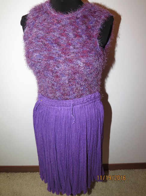 Casual Corner 6 piece Casual Corner Couture Purple Raspberry Red knit top earrings Image 6