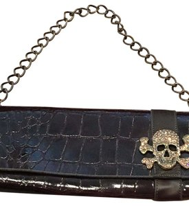 Leatherock Skull Rhinestone Brown Faux Alligator Clutch