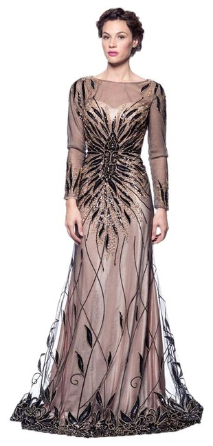 Item - Black Gold Handcrafted Long Formal Dress Size 12 (L)