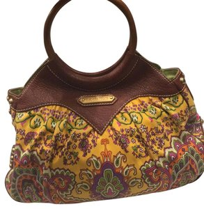Isabella Fiore Satchel in Print And Brown Leather