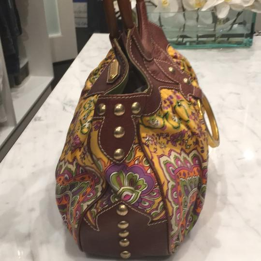 Isabella Fiore Satchel in Print And Brown Leather Image 2