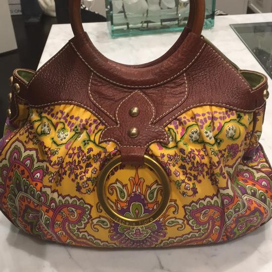 Isabella Fiore Satchel in Print And Brown Leather Image 3