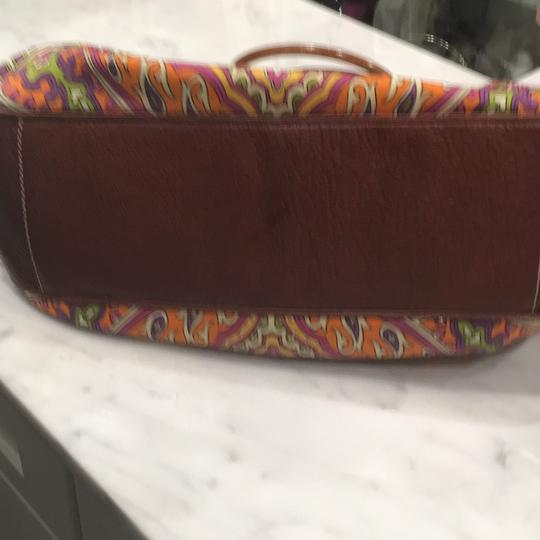 Isabella Fiore Satchel in Print And Brown Leather Image 6
