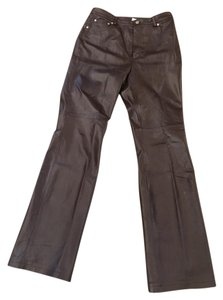 Newport News Leather Brown Boot Cut Pants BLACK