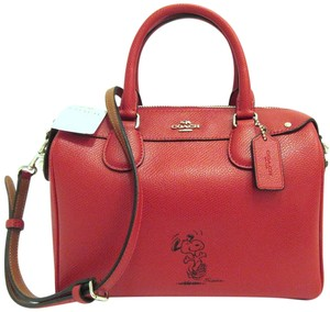 Coach Satchel in Red, Silver