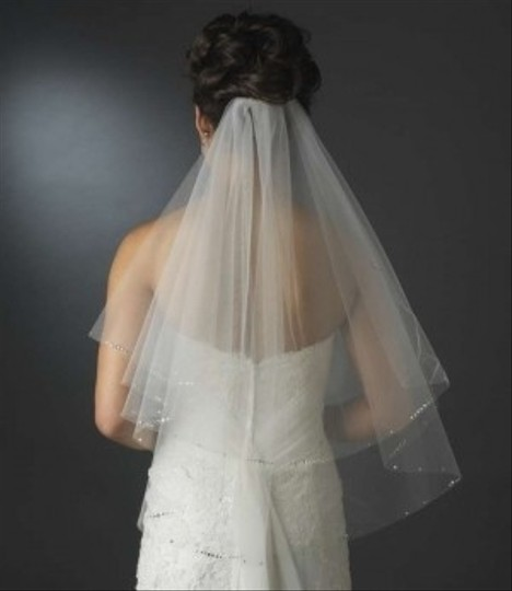 Elegance By Carbonneau Ivory Two Layer Elbow Wedding Veil With Rhinestone Accents